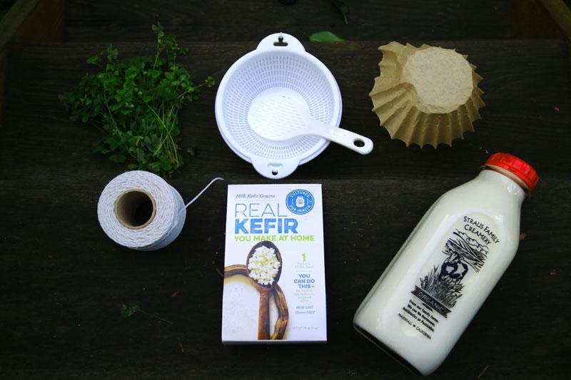 Набор для производства кефира: стеклянная бутылка, фильтр для кофе, пластиковые ситечко и ложка, веревка или резинка, чтобы закрыть бутылку, но Элеонора при этом могла дышать.